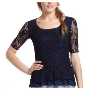 Deletta Anthropologie Tiered Lace Peplum Top